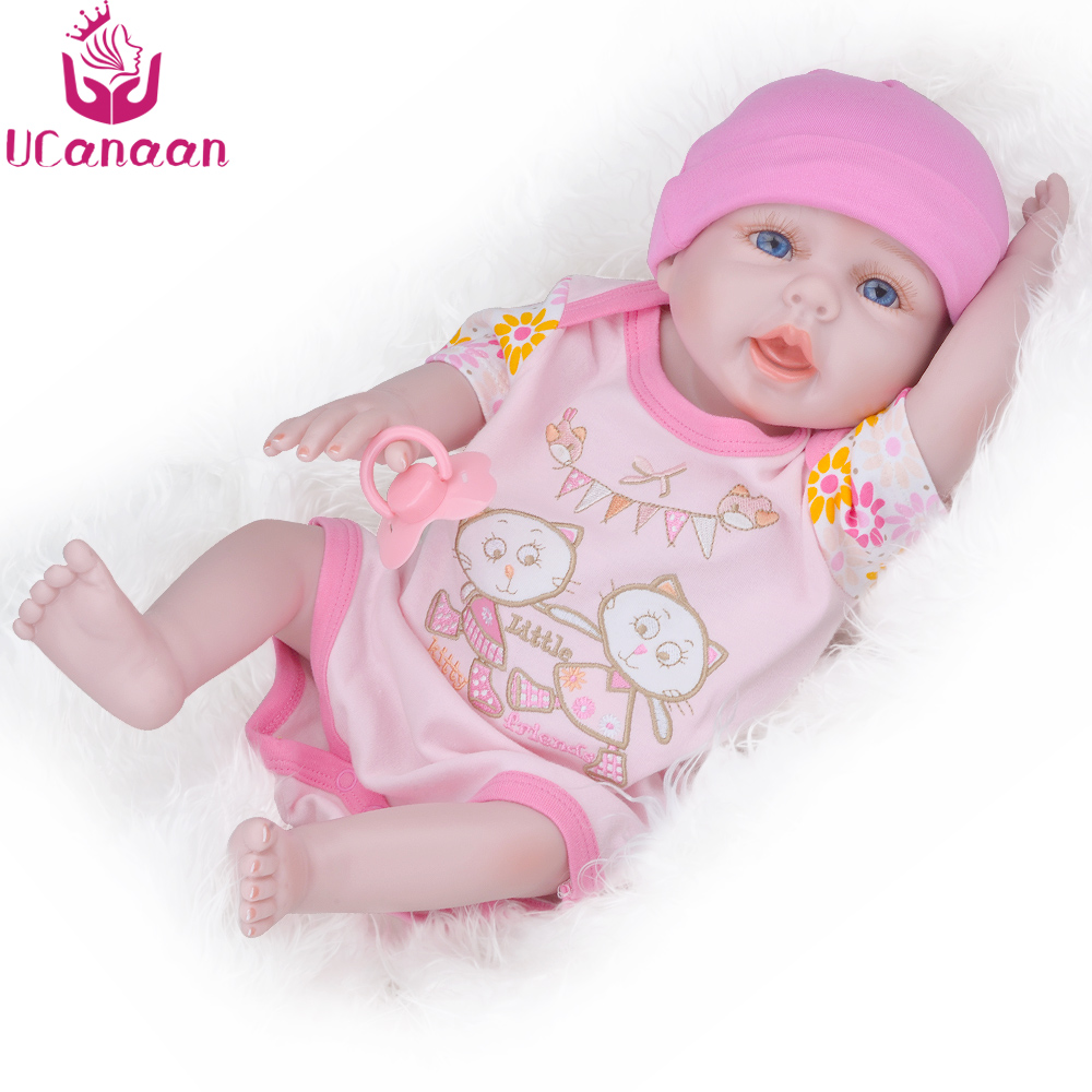 UCanaan Baby Reborn Dolls Soft Silicone Handmade Cloth Body Reborn Babies Doll Toys for Children Best Gifts for Kids Brinquedos