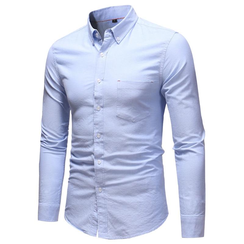 9e508fdd506 2019 White Oxford Cotton Shirt Men 2018 Brand New Mens Casual Button ...