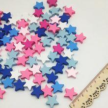 100 шт Разноцветные деревянные бусины в форме звезды 19 мм
