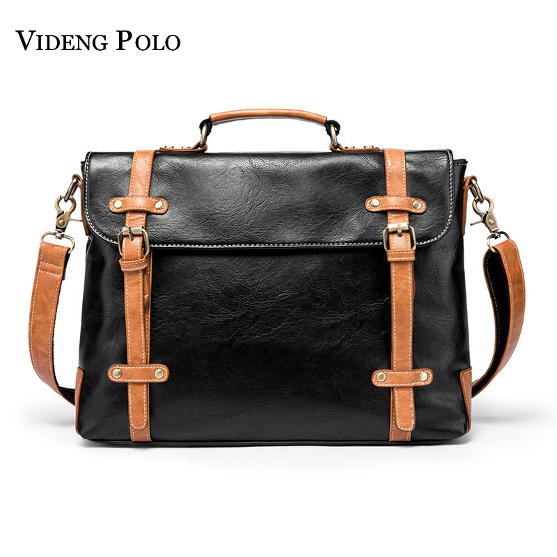 VIDENG POLO Mens Brand Casual Messenger Bag Leather Crossbody Shoulder Bags Large Capacity Business Briefcases Homme Sacoche