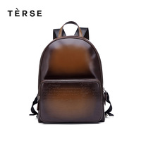 TERSE New Backpacks Fashion men women leather backpack soft leather handmade bag pack genuine leather backpack large capacity