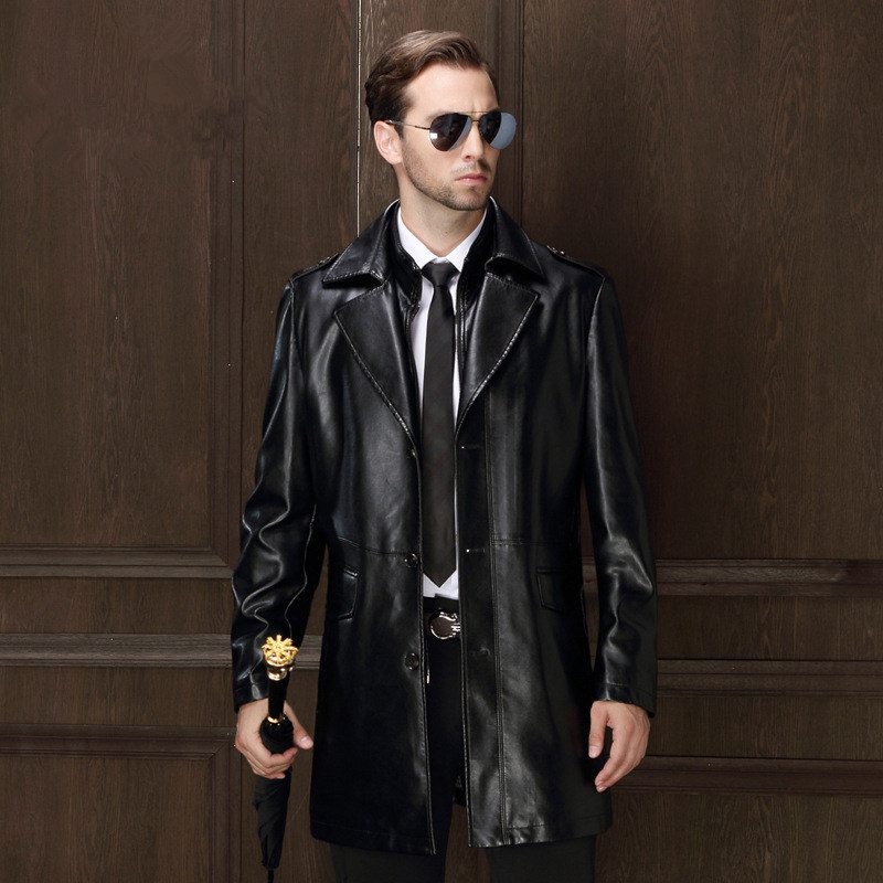 Winter mens suit collar PU leather coat middle-aged leather male plus size leather jacket long paragraph warm parkas MZ1178