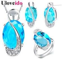 40% de descuento uloveido azul crystal joyería de la boda conjuntos para las mujeres día de san valentín anillos pendientes collar set bijoux regalos de una muchacha t299