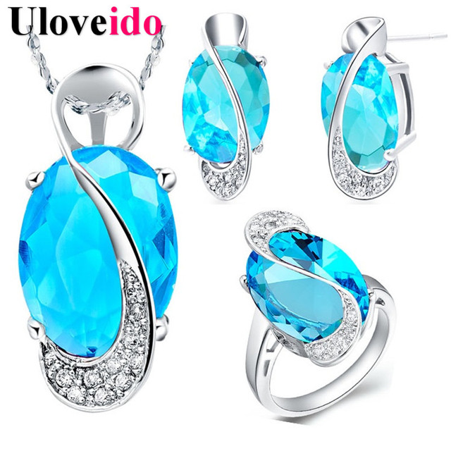 40% Off Uloveido Blue Crystal Wedding Jewelry Sets for Women Valentine's Day Rings Necklace Earrings Set Bijoux Girl Gifts T299