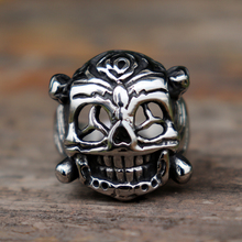 Mens Stainless Steel Ring Ethnic Retro Style Mexican Skull Biker Rings Rock Punk Jewellery