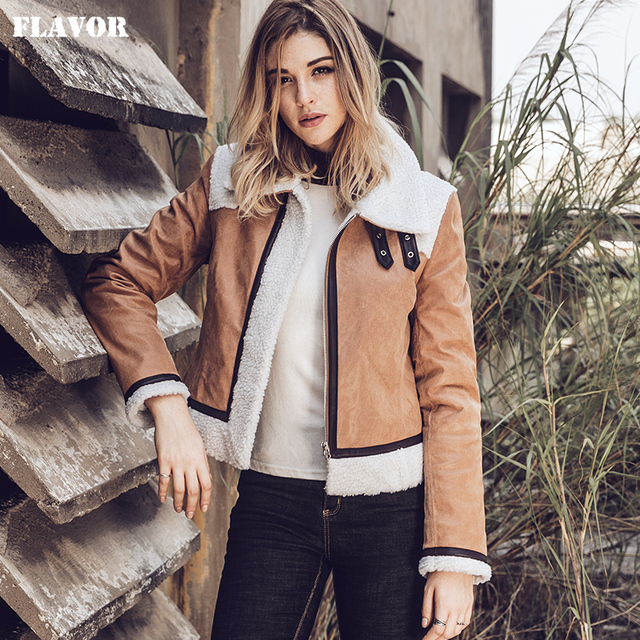 f54c0223b US $149.0 |2017 New Women's Genuine Leather Jacket with Faux fur Shearling  Coat female Real Leather Motorcycle Jacket-in Leather & Suede from Women's  ...