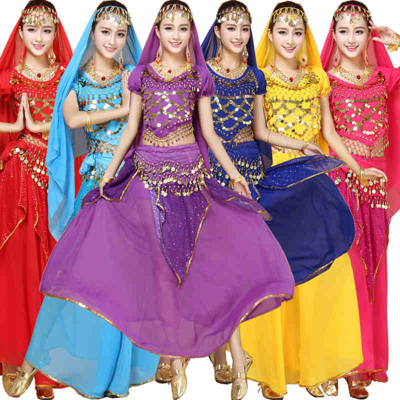 4pcs Sets India Egypt Belly Dance Costumes Bollywood