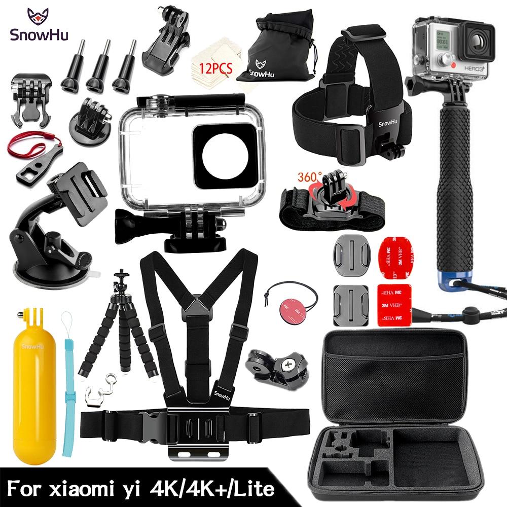 SnowHu For Xiaomi Yi 4K Accessories Monopod install selfie stick Octopus Tripod For Xiaomi Yi 4K Yi2 Action Camera 2 II ZH74 xiaomi yi 4k action camera 2 ambarella a9se sony imx377 1400mah