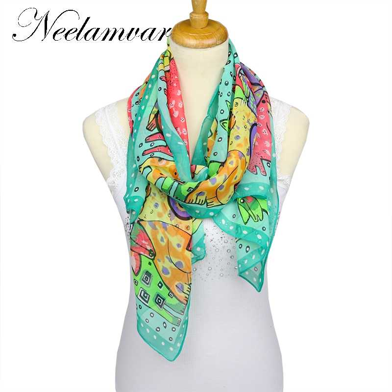 31cc979fe New style animals women scarf thin chiffon polyester silk scarf spring and  autumn accessories women's summer