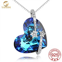 YAFEINI 925 Sterling Silver Love You To The Moon And Back Made with SWAROVSKI Crystal Heart Necklaces For Women Fine Jewelry(China)
