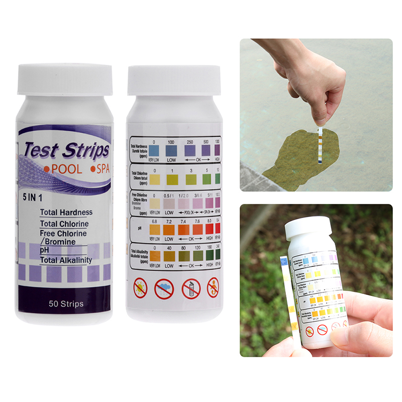 50pcs Swimming Pool Test Strip Hot Tub Spas Water Chlorine PH Value Alkalinity Analyzer Uk Home Garden Outdoor Accessories