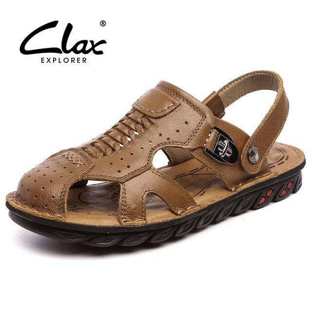 Clax 2017 Летний Стиль Кожа Мужчины Сандалии мужчин Люксовый Бренд Высокого Качества Из Натуральной Кожи Мужской Моды Тапочки Дышащей Обуви