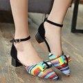 2016 Venta Sandalias Mujer Sandalias de Gladiador de moda Las Mujeres de Gran Tamaño 34-43 Inferior Zapatos de Las Sandalias de Las Señoras Señora de Tacón Bajo de Las Mujeres C-12