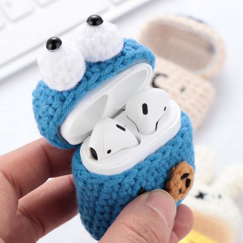 Handmade Protective Case Cover Bluetooth Headset Box Charging Bag Knitting Cotton Earphone Cover For Apple Air Pods