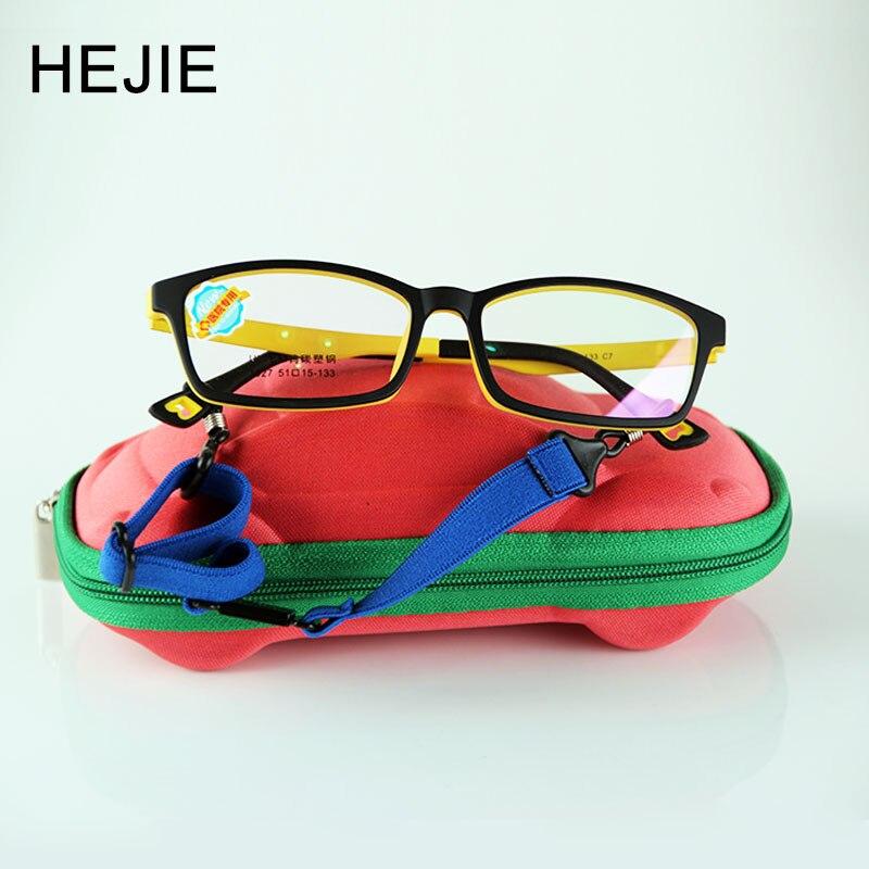HEJIE Kids Safe ULTEM(PEI) Optical Eyeglasses Frames Elastic Leg For Age 8-12 Boys Girls Pupils Students Size 51-15-133 Y1027