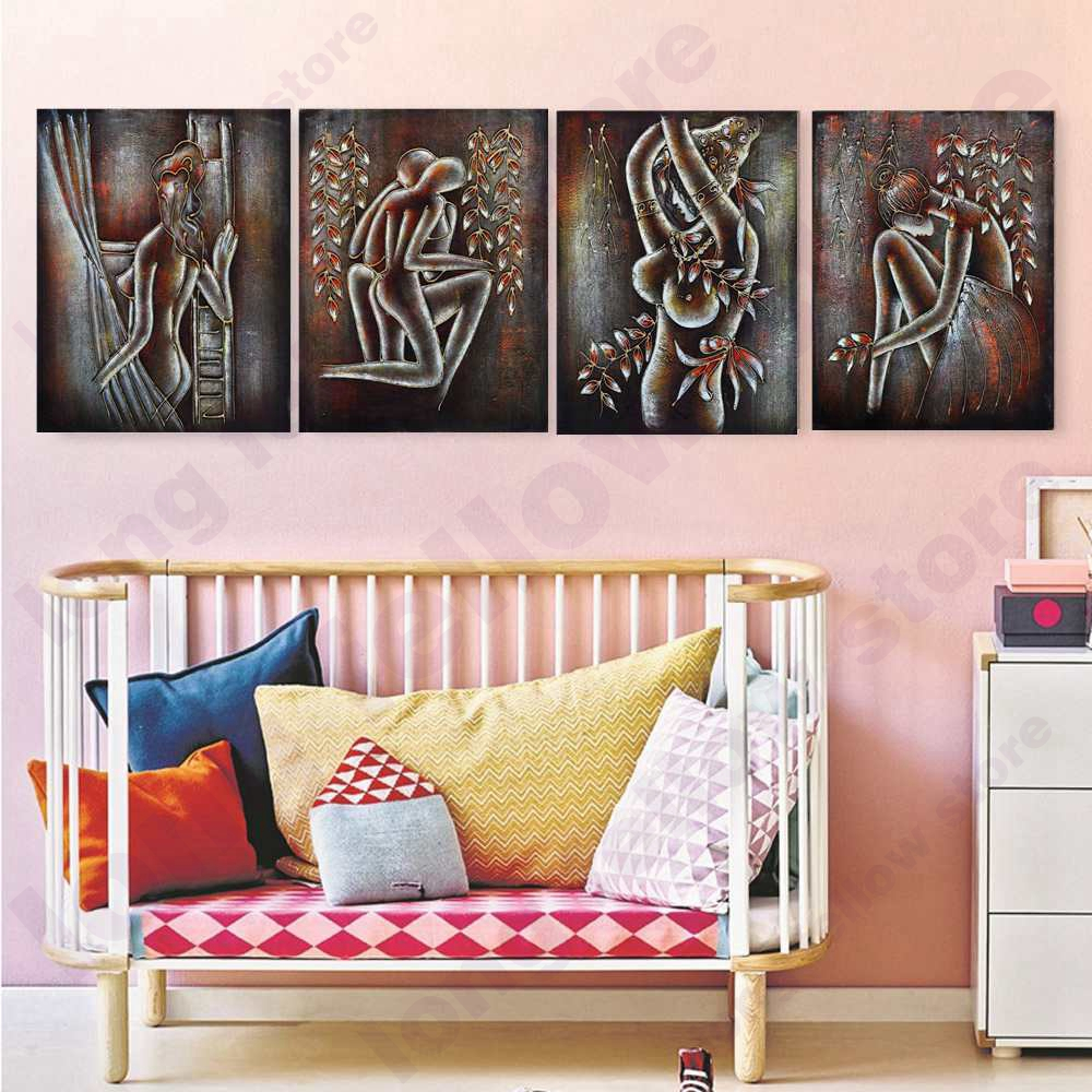Retro Home Decor Portrait Wall Art Print Bronze Nude Woman Couple Canvas Painting for Office Room Wall Decor Copper Red Dropship in Painting Calligraphy from Home Garden