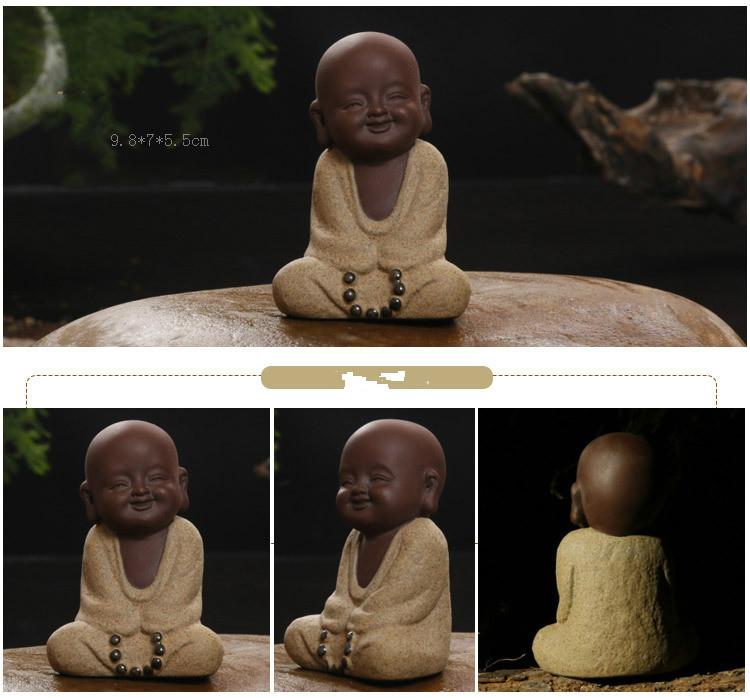 HTB1ZLRMayLrK1Rjy1zdq6ynnpXaa - Buddha Statues Small Monk Color Sand Ceramic Home Club Geomantic Decoration Purple  Figurine Tea Pet