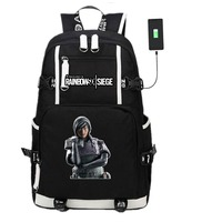 Game Rainbow Six Tom Clancy's Laptop USB Backpack Travel Shoulder Bags Kids Teens School Student Bags Bookbag