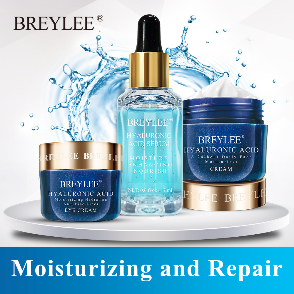 BREYLEE Hyaluronic Acid Set Moisturizing Serum Face Facial Cream Eye Cream Improves Dryness Rough Whitening Repairing Skin Care