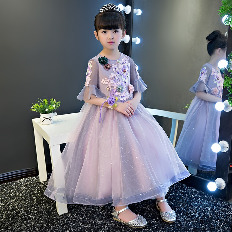 2018 New Spring Children Girls Embroidery Flowers Princess Birthday Wedding Party Dress Kids Babies Purple Color Ball Gown Dress 2018 spring new children girls elegant fashion pink color flowers princess dress for birthday wedding party baby ball gown dress