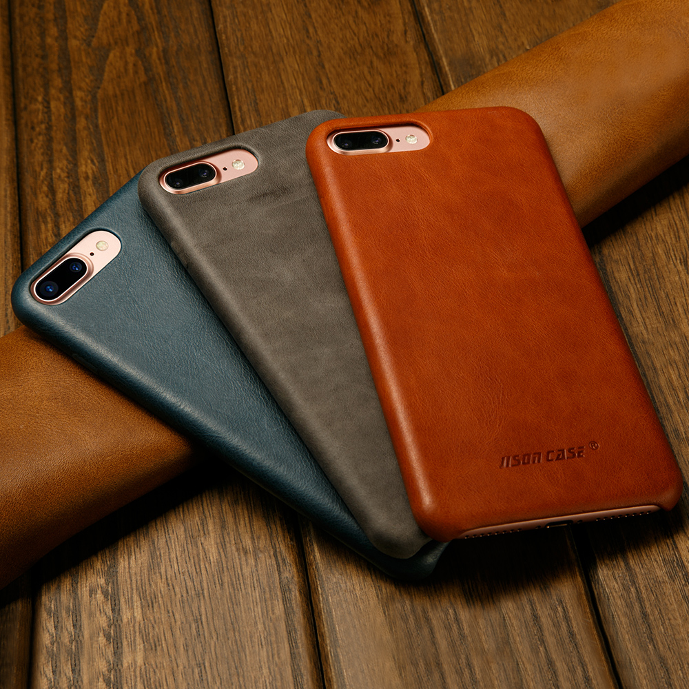 Jisoncase Original Leather Case for iPhone 8 8 Plus Case Cover Genuine Leather Luxury Slim Back Cover for iPhone 7 7 Plus Capas