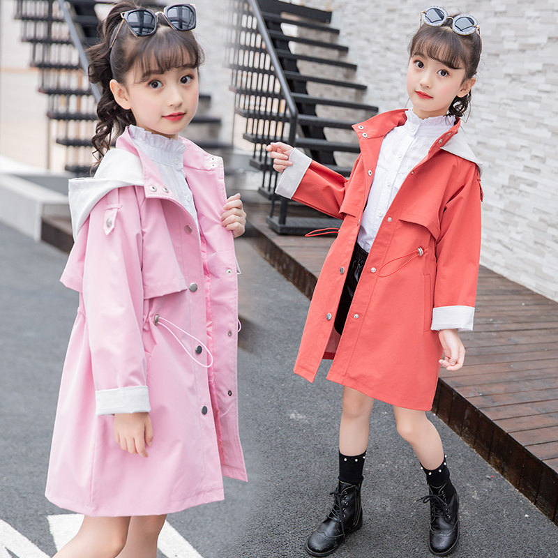 New Girls   Trench   Jacket Children's Clothing Girl   Trench   Coat Kids Jacket Hooded Girl Coats Winter   Trench   Wind Dust Outerwear