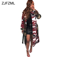 Camouflage Printed Military Maxi Jackets Women Turn Down Long Sleeve Loose Outwear Streetwear Mujer Army Sashes Coat Windbreaker
