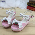 Cosplay:35-40 Summer Harajuku lolita sandals wave laser laciness women's bow shoes strawberry bell high-heeled girl's pumps