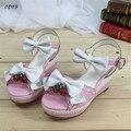 Cosplay: 35-40 Verano Harajuku lolita sandalias láser de onda laciness arco zapatos de las mujeres de campana de fresa de alta bombas de tacón alto de la muchacha