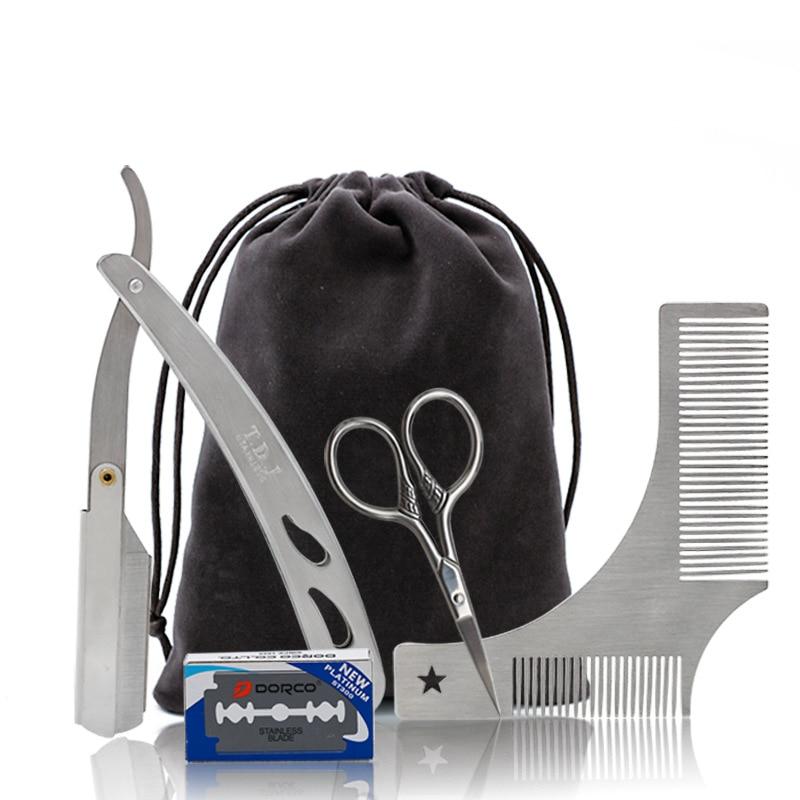 5pcs Beard Grooming Kit Trimming Shaving Brush Comb Beard Set Mustache Scissors Straight Razor Shaping Shave Brush Tools For Men