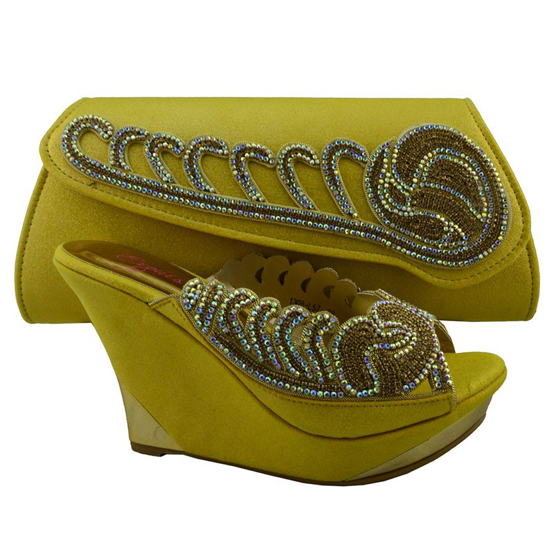 ФОТО 2016 New Summer Style Sandals Shoes And Bags Set African High Heel Shoes And Bag For Party Free Shipping Yellow Color 1308-L57