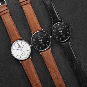 Image 4 - Mens Watch Hemsut Ultra thin Men Watch Leather Stainless Steel Quartz Watch 30m Waterproof Black relogio masculino 2018