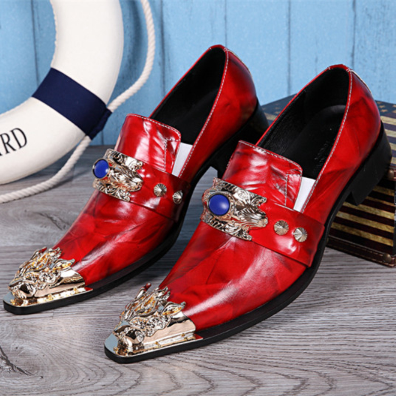 a592c142da7a Christia Bella Fashion Genuine Leather Men Shoes Pointed Toe Business  Formal Men Dress Shoes Red Wedding Party Shoes Mens Flats