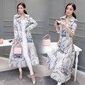 2016 Novas Mulheres Do Vintage Trincheira Impressão Magro Chinês Vento Casaco Casacos 1661