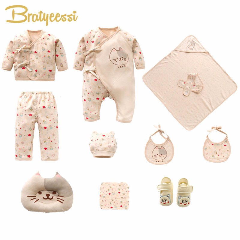 New Cat Newborns Clothes Set Cotton Cartoon Print Baby Girl Clothes Soft New Born Infant Boy Clothing Baby Set Gift 2018 hot 7pcs set 100% cotton material new born baby clothes full kits for kids cotton material baby clothes boy girl newborn