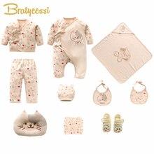 Yeni kedi yenidoğan giyim seti pamuk karikatür baskı bebek kız giysileri yumuşak yeni doğan bebek erkek giyim bebek seti hediye