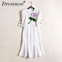 Высокое качество Женские Элегантные ручной работы, объемные цветы Половина рукава Мода знатных Белый Русалка с круглым вырезом аппликации