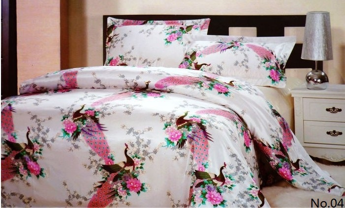 7pcs Pink Peacock Bird Design Silk Satin Bedding Sets California King Queen  Size Quilt Duvet Cover Fitted Sheets Bed Designer In Bedding Sets From Home  ...