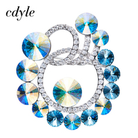 Cdyle Crystals From Swarovski Brooches Women Austrian Rhinestone Fashion Jewelry Elegant Luxury Blue Retro Vintage Christmas