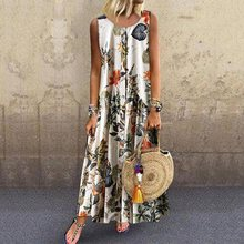 Women Pleated Floral Print Holiday Long Dress Summer 2019 Boho Loose Robe Sleeveless Street Travel Blue Chic Ladies Maxi Dresses chic strapless sleeveless floral print maxi dress for women