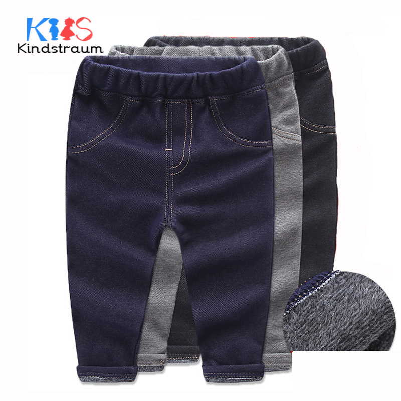 Kindstraum Super Warm Kids Winter Cotton Jeans Baby Boys Girls Casual Thick Denim Pants Toddler Children Quality Trouser, MC978 plus size 29 44 men s casual winter straight jeans pants fashion cotton zipper brand clothing denim thick winter hot new loose