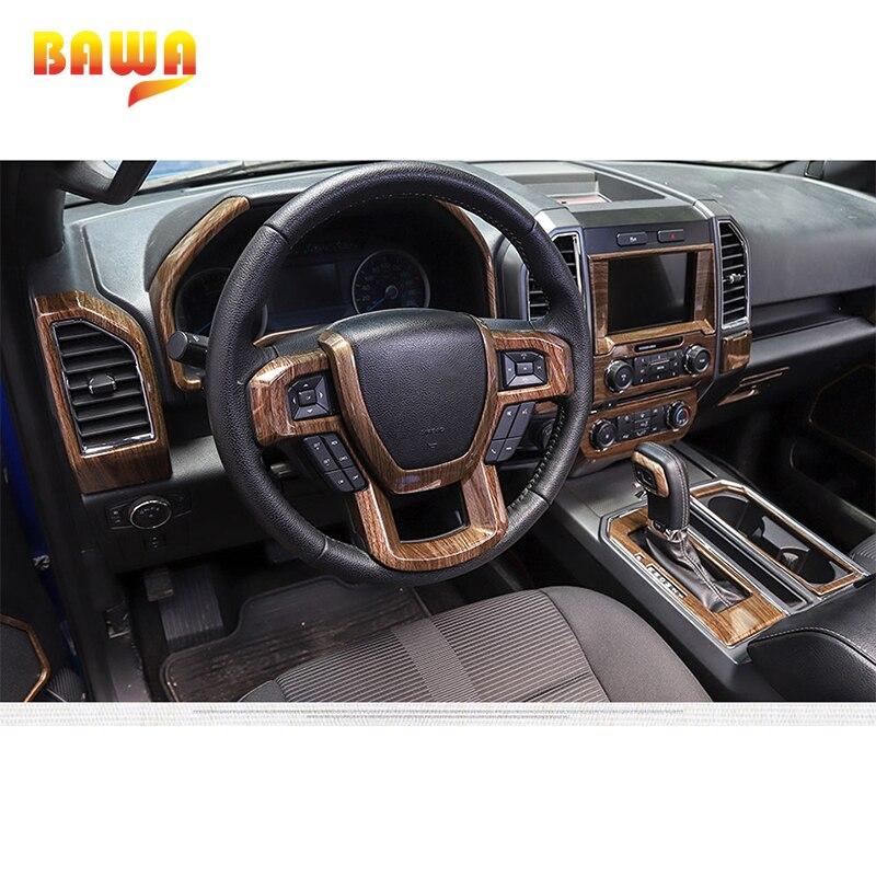 Moulures intérieures BAWA pour Ford F150 2015 + autocollants de décoration intérieure en Fiber de carbone - 6