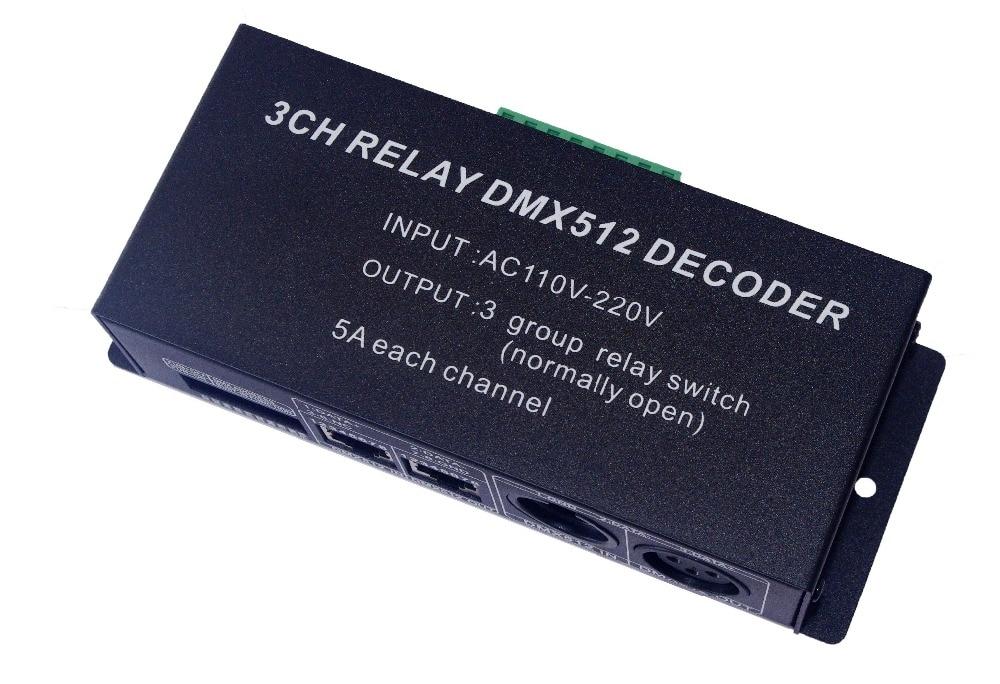 3 Parça ücretsiz kargo 3CH DMX512 röle anahtarı denetleyicisi 3 kanal röle dekoder AC110-220V girişi, her kanal max 5A