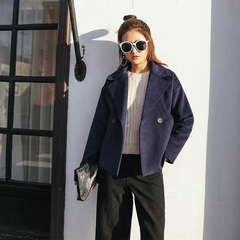 down Blue Wool Orange New Single Ladies Solid Breasted Collar Short Women's Coat Korean Blend Fashion navy Womens Jacket Turn qqxEUrPcaw