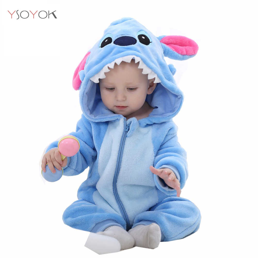 02fc91f59 ... Baby Rompers New Born Baby Clothes Winter Boys Girls Jumpsuits Kigurumi  Onesies Animal Panda Stitch Pajamas ...