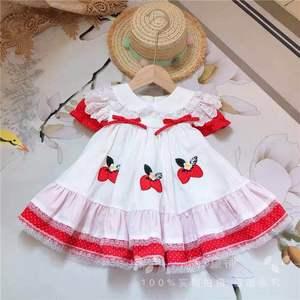 Image 5 - Sommer Mädchen Rot Spitze Erdbeere Blume Prinzessin Kleid Vintage Spanisch Kleid Lolita Party Kleid für Mädchen Baumwolle Casual Kleid