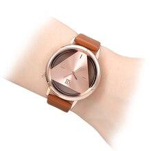 Złoty zegarek skórzany pasek damski