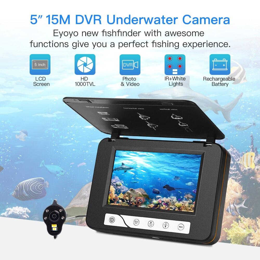 """Eyoyo EF15R 15 М Подводная рыболовная камера """" рыболокатор видео камера Белый и инфракрасный ночное видение светодиодный DVR 8 ГБ для подледной рыбалки"""