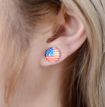 Fashion Jewelry American USA Flag Design Printing Cute Resin Dripping Iron Earring Hand Made Craft Ear Stud(China)