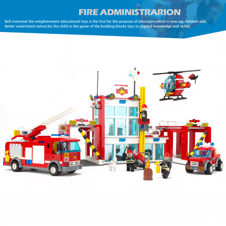 874pcs Fire Station CITY Rescue Truck Fireman Firefighting Helicopter technic Building Blocks Figures Toys Sets Boys children hot city fire rescue ladder engine truck building block fireman figures bricks educational toys for children gifts